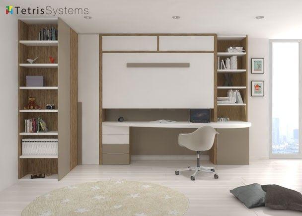 Dormitorio juvenil con cama alta plegable y for Habitaciones juveniles abatibles