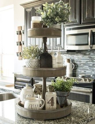 Tiered Tray Styling 101 My Rustic Retreat Home Decor Kitchen Tray Decor Kitchen Island Decor Kitchen Table Centerpiece