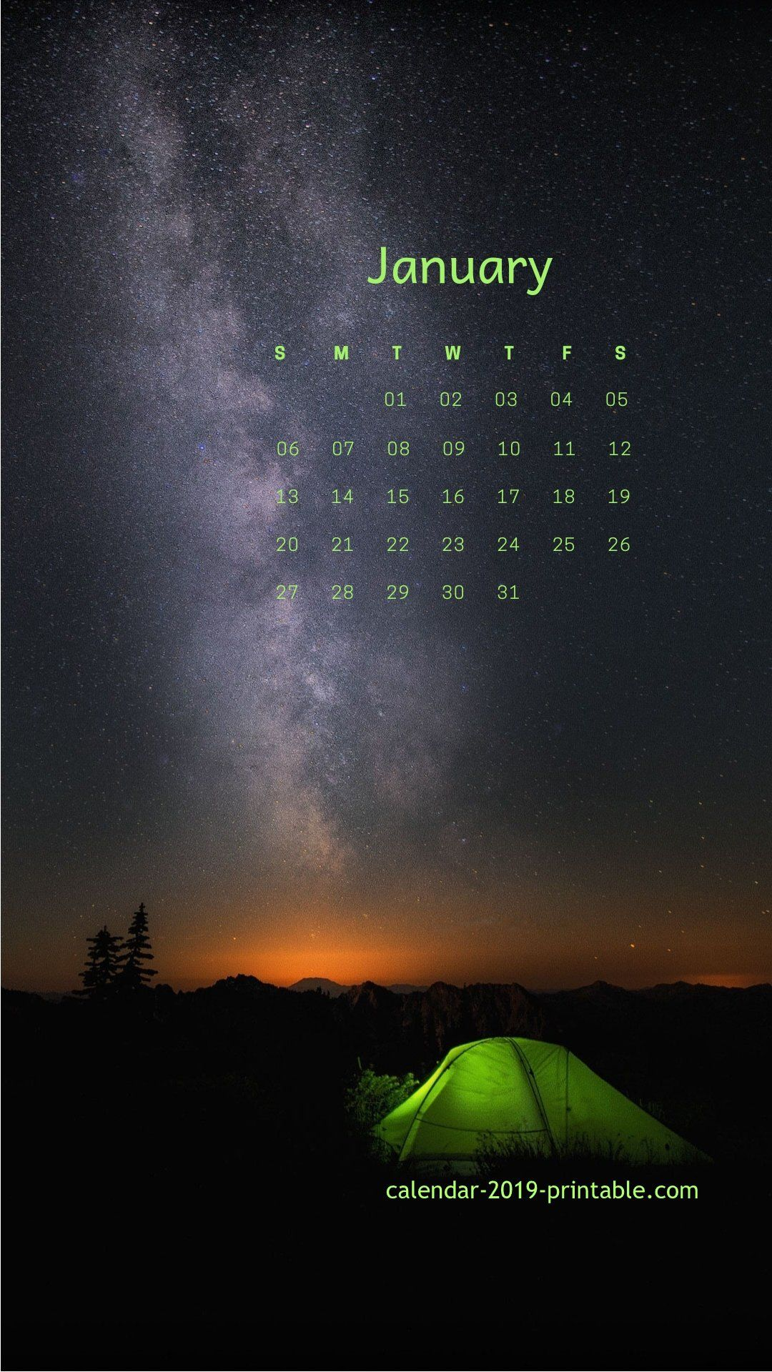 January 2019 iPhone, Android Calendar Wallpapers