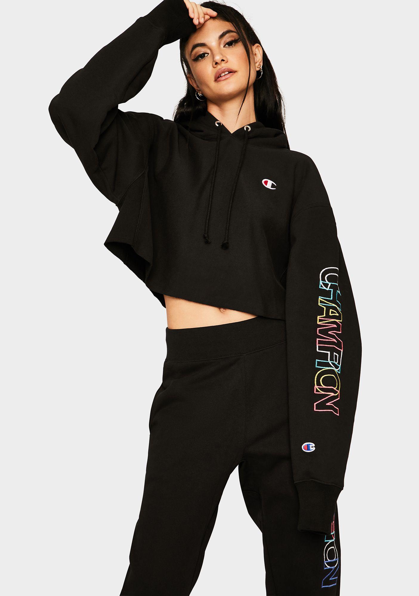 Block Reverse Weave Cropped Hoodie Cropped Hoodie Streetwear Fashion Hoodies [ 2000 x 1405 Pixel ]
