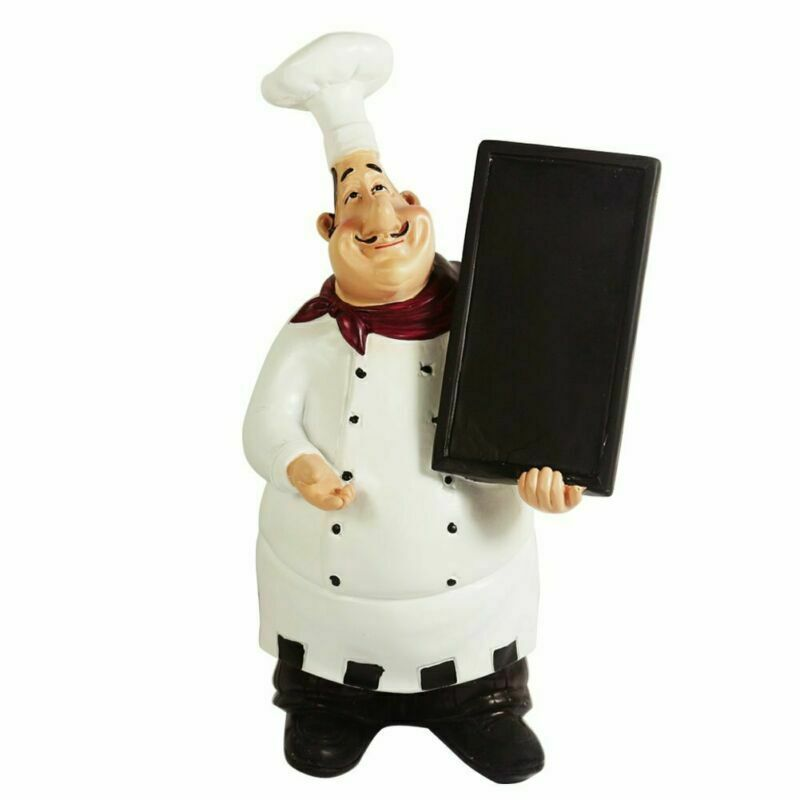 Home Bar Restaurant Kitchen Decor Chef Ornament Figurine Statue Welcome Board