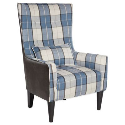 angelo:HOME Silla Chair in Charcoal Grey & Blue Carriage Plaid - BedBathandBeyond.com
