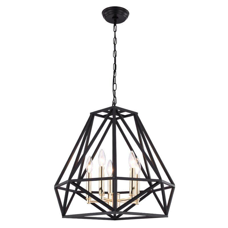 Destin 5 Light Unique Geometric Chandelier Geometric Chandelier Pendant Light Fixtures Black Chandelier