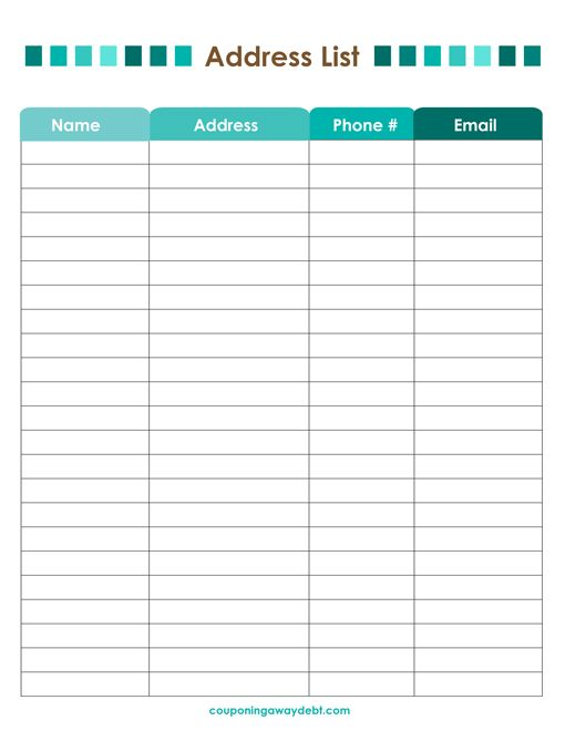 Address List Printable   Organizing Market Stalls And Planners