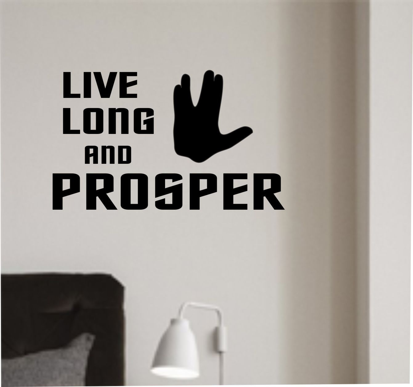 Vinyl Wall Lettering Live Long and Prosper Vulcan Hand Sign Decal