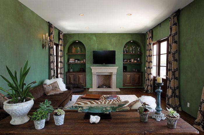idee deco salon oriental marocain mediterraneen vert marron
