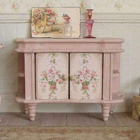 Dollhouse Miniature Pink Sideboard Painted Furniture Floor Cupboard Distressed Cabinet Rose Paper Shabby Cottage Chic 1 12th Scale