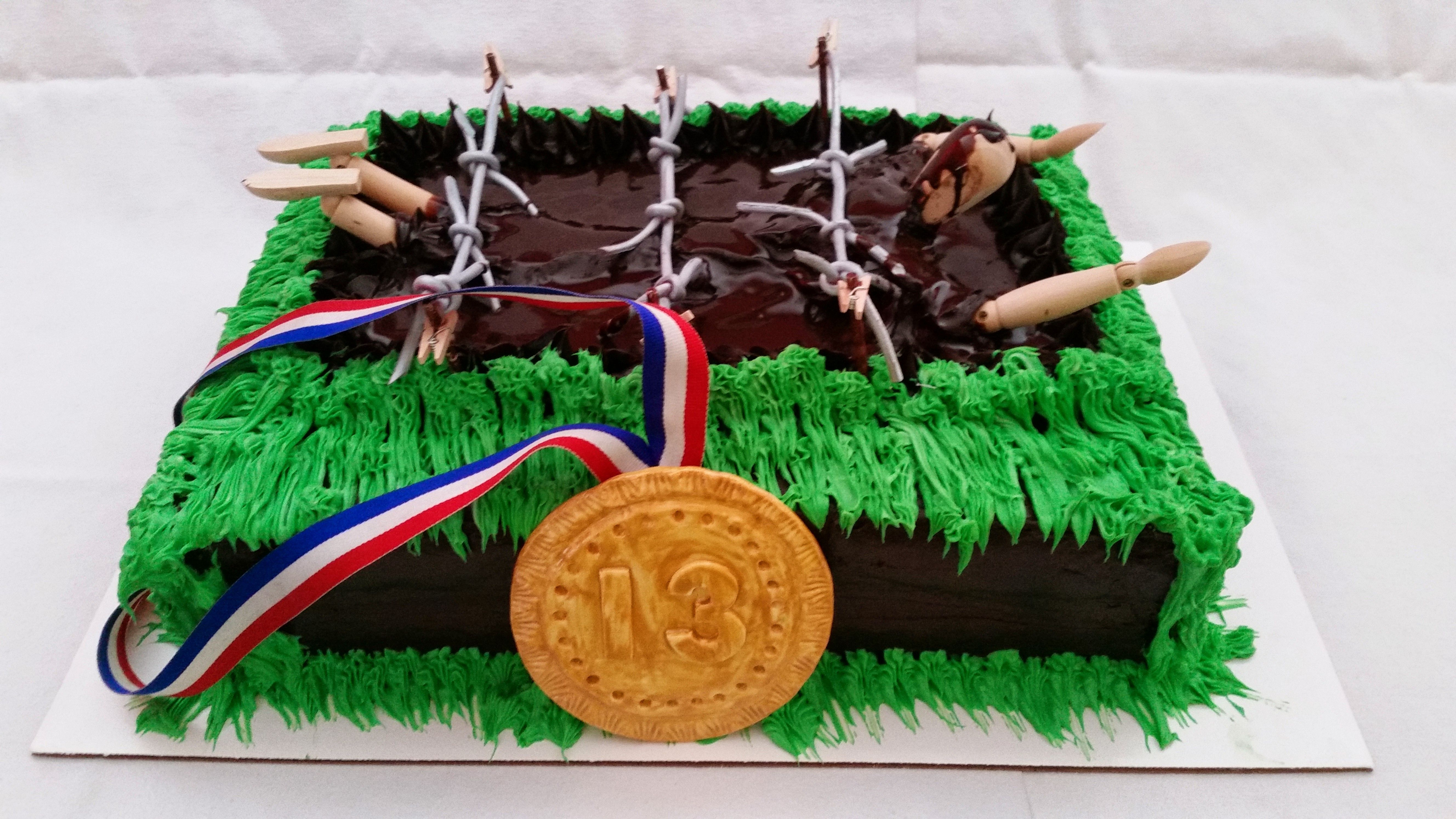 Mud Pit Obstacle Course Cake Obstacle Course Cakes Pinterest