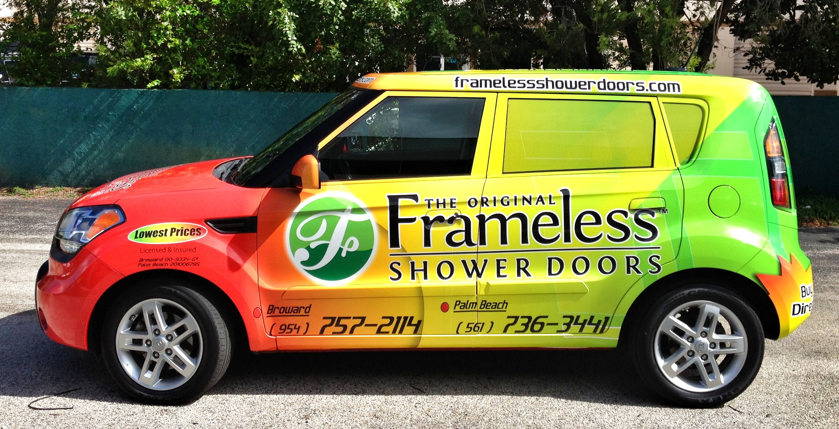 It S A Wrap By Inmotion Grafix Frameless Shower Doors Palm