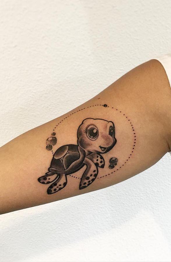 Cute Turtle Tattoo Inkstylemag Turtle Tattoo Cute Turtle Tattoo Tortoise Tattoo