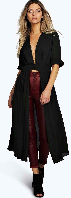 9da93a9c650 Shirley Plunge Neck Split Maxi Shirt - Tops - Street Style