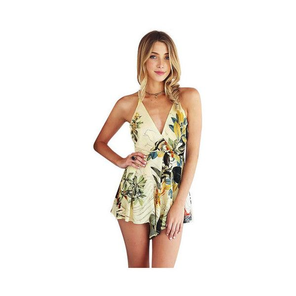 8d951309ff6 Yoins Pastoral Print Spaghetti Strap Playsuit (£13) ❤ liked on Polyvore  featuring jumpsuits
