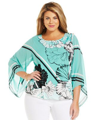 acc20c847ad Alfani Plus Size Angel-Sleeve Printed Blouson Top - Tops - Plus Sizes -  Macy s
