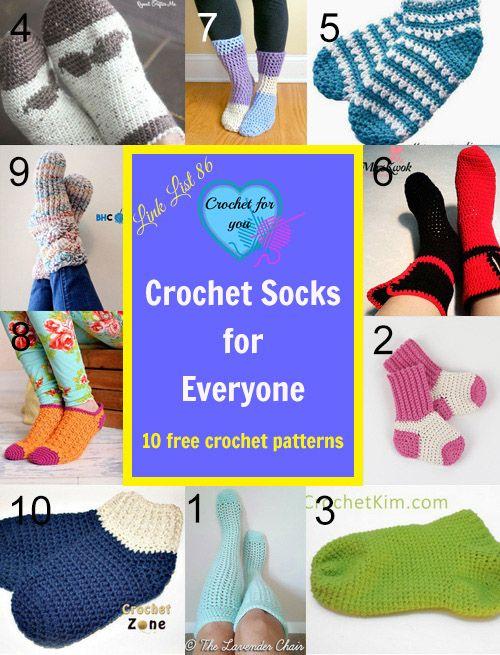 10 Free Crochet Socks Patterns for Everyone. | Ganchillo y Tejido