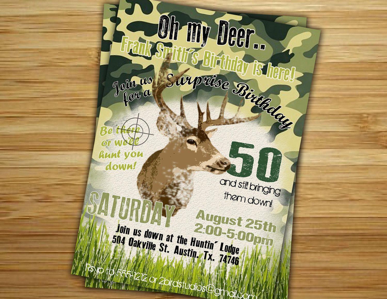 Hunting Birthday Party Invitation / invite - 30th 40th 50th birthday ...