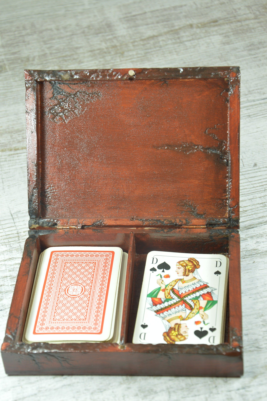 playing cards box for 2 decks poker card box wood box