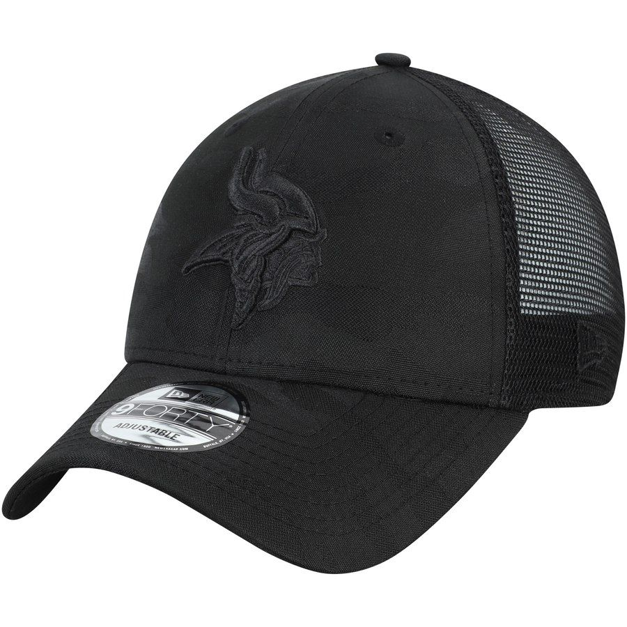 huge selection of a1120 a4980 Men s Minnesota Vikings New Era Black Camo Front 9FORTY Trucker Hat, Your  Price