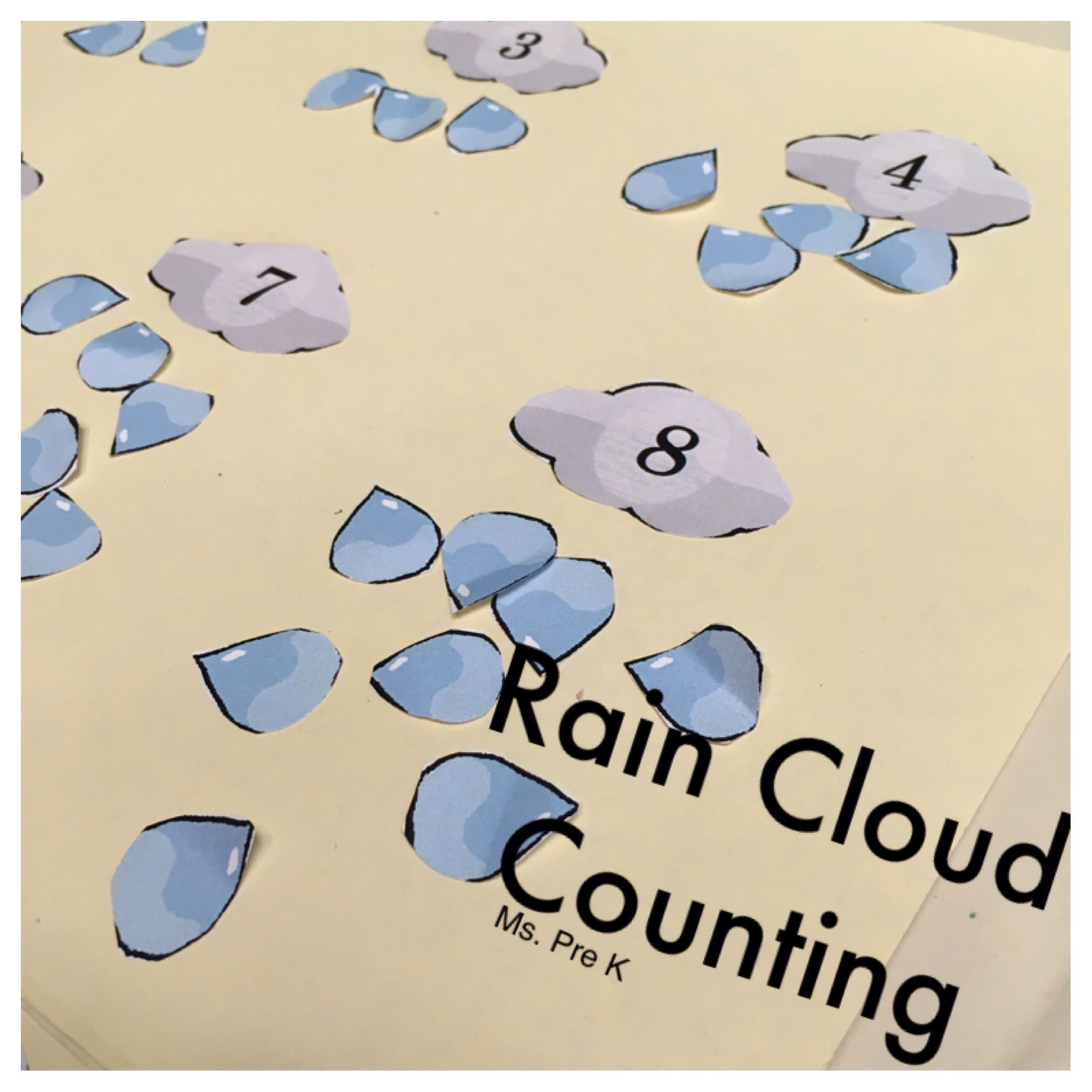 Preschool Rain Cloud Counting File Folder Game