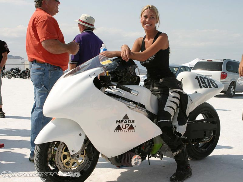 Leslie Porterfield, the world fastest women on motorcycle, bonneville, 2008.