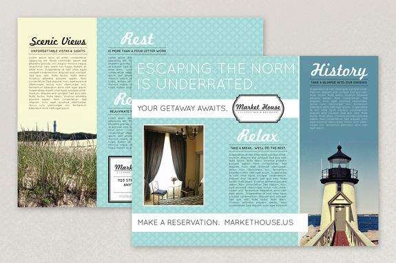Nautical Bed and Breakfast Brochure Template - The cool color - architecture brochure template