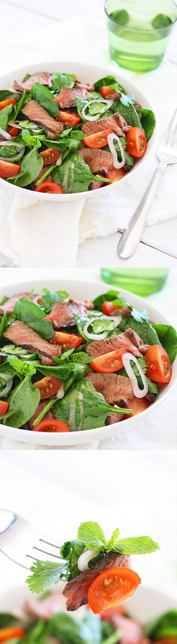 Thai Beef Salad - best homemade salad with Thai marinated beef and dressing. Healthy recipe that you can make at home | rasamalaysia.com