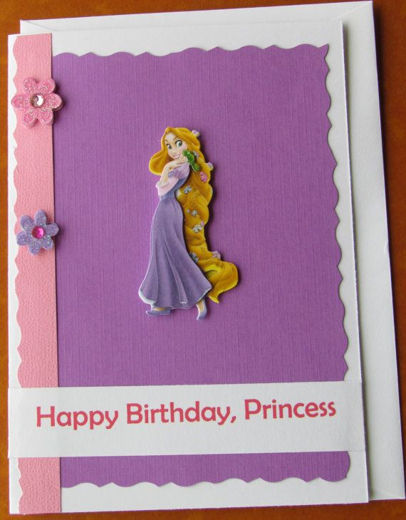 3d rapunzel disney princess girly birthday card free items similar to rapunzel birthday card personalized disney princess birthday handmade card designsbyalia on etsy bookmarktalkfo Image collections