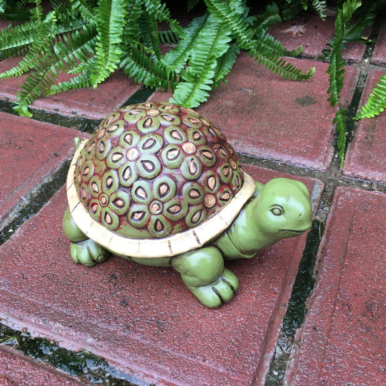 Concrete Garden Turtle Hand Painted Flower Tortoise With Floral Shell Decorative Patio Decor Cement Turtles Item 4 Turtle Painting Turtle Design Patio Decor