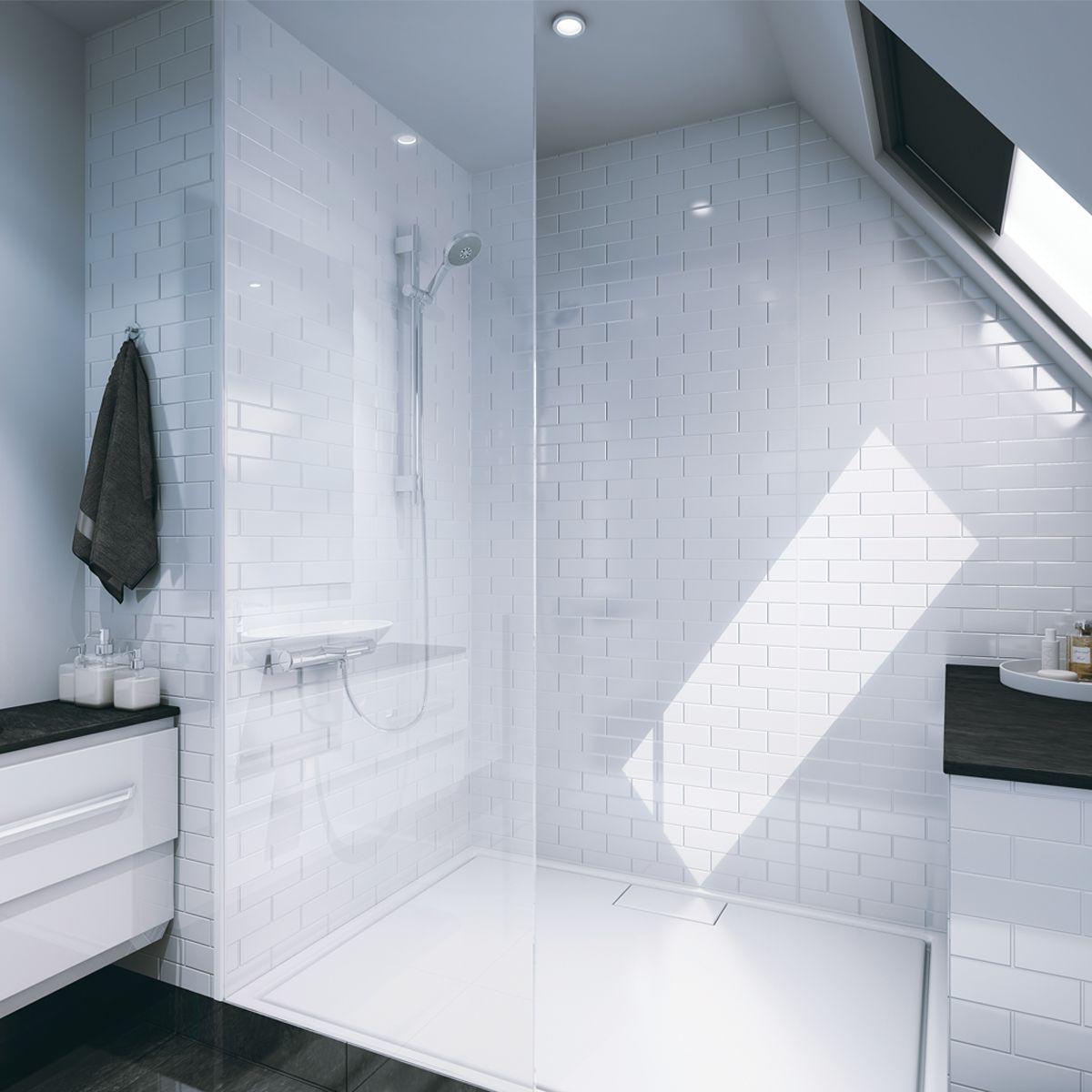 Multipanel Tile Panel White Gloss Brick Effect Vertical ...