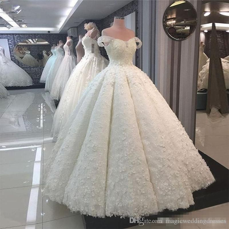 2019 Luxury Lebanon Wedding Dresses Tassel Short Sleeve Sweetheart Neck Lace Up Back 3d Floral Applique Cryst Bridal Dresses Wedding Dresses Ball Gowns Wedding