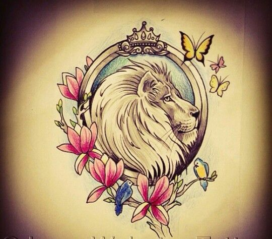 74ef6c9a5dfbc Lion tattoo, flowers , crown and butterflys | Tattoos❤ | Lion ...