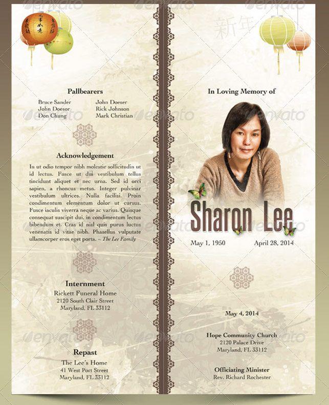 Oriental Style Bi-fold Funeral Program Template | Godserv Market ...