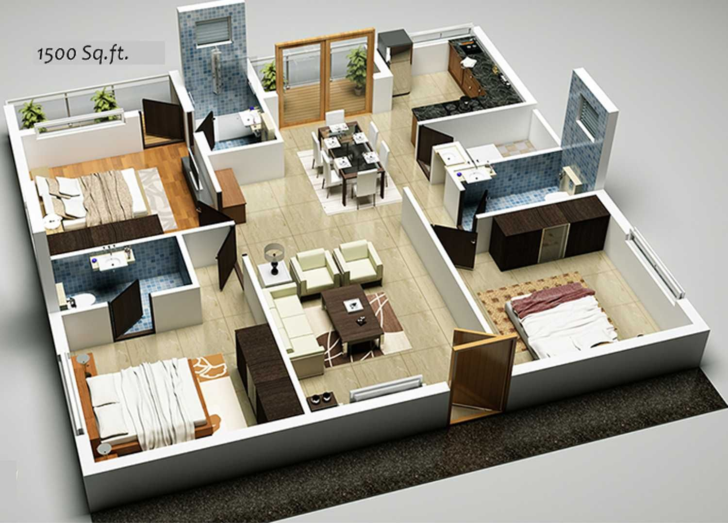 Image Result For Free Plan House 3 Bed Room House Plans Shop House Plans 1500 Sq Ft House