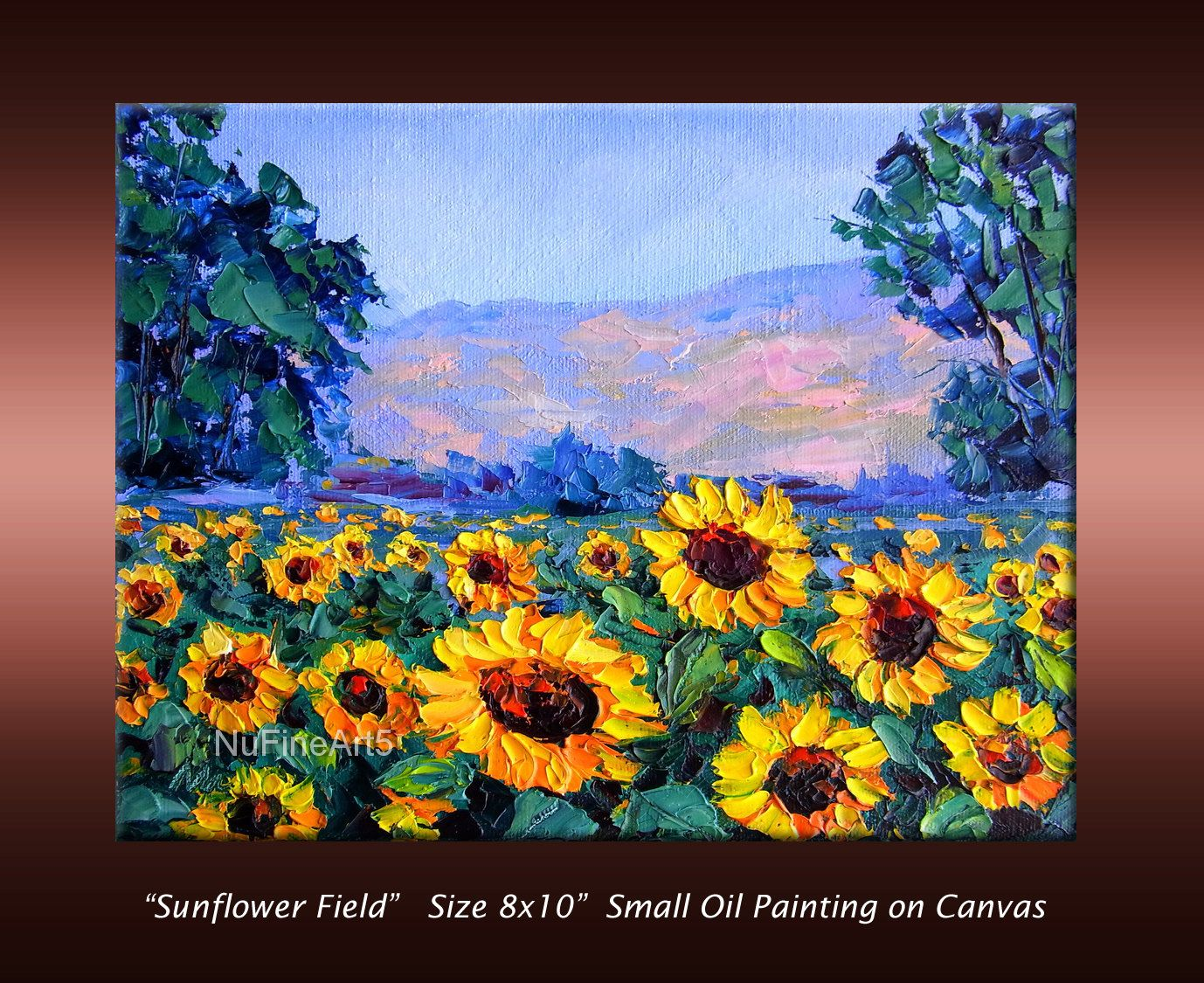 Sunflower Field Landscape Textured Palette Knife Original Oil Painting On Small 8x10 Quot Canvas Ready Pintura De Girasol Campo De Girasoles Girasoles Dibujo