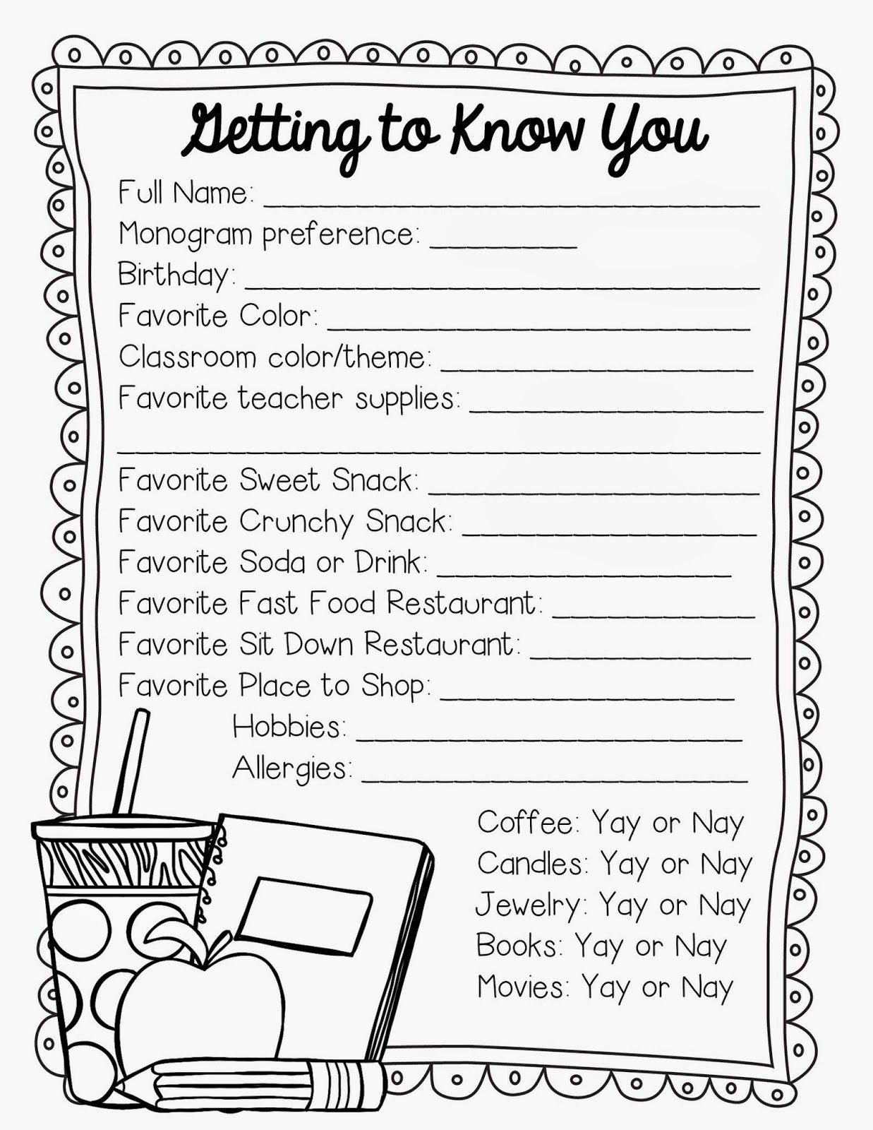 worksheet Get To Know You Worksheet 2nd grade snickerdoodles getting to know the teacher freebie great for gift