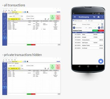 The #Bookkeeping section is a basic accounting app to keep track of your #income & expenses for different #accounts.