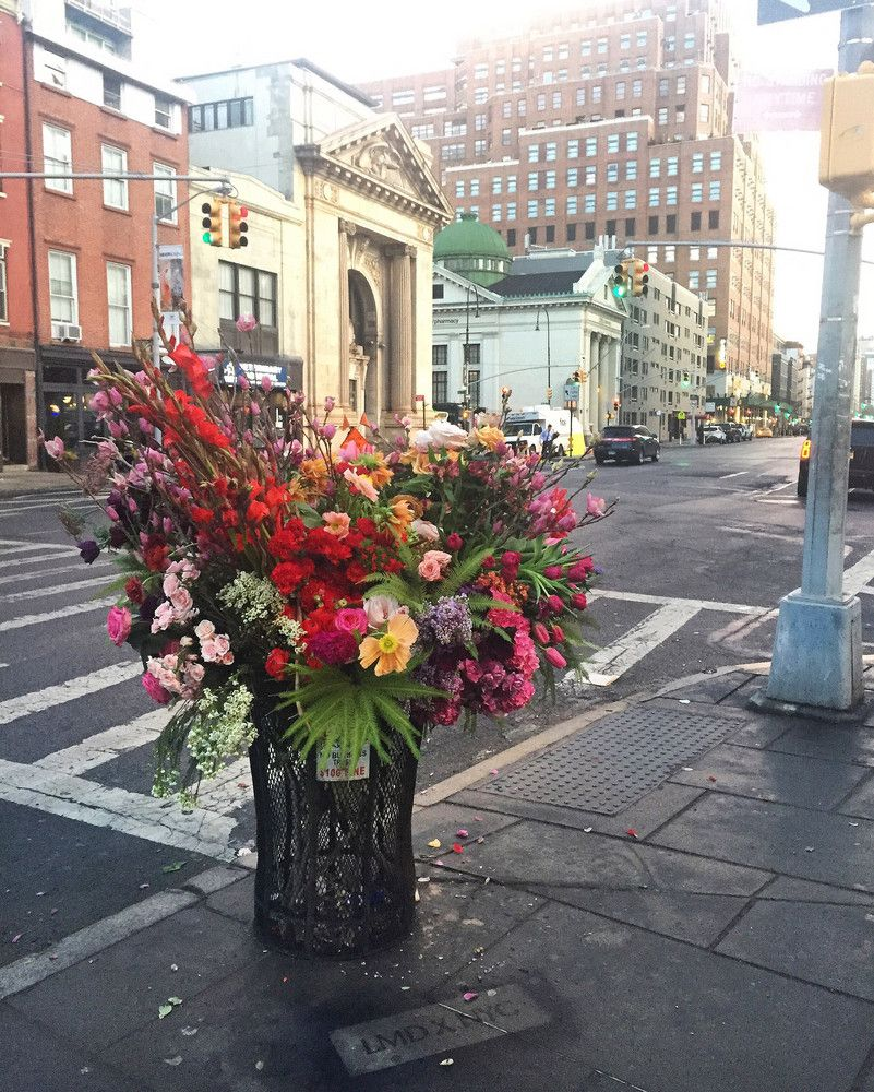 Meet the Flower Bandit Turning NYC Trash Cans into Giant Bouquets ...