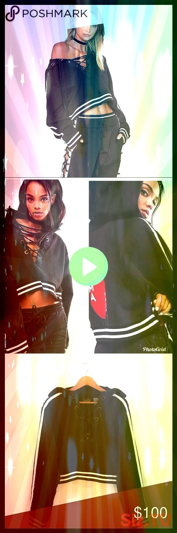 BY PUMA Rising Sun Lace Up Sweatshirt Black Rare Fenty by Puma created by Rihanna Lace up front with tie closure Attached hood Patch rising FENTY BY PUMA Rising Sun Lace...