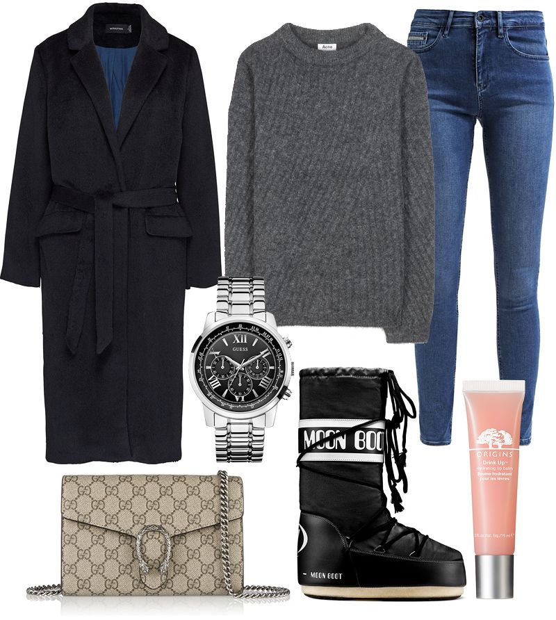 How I would style Moon Boots: long belted wool coat, grey mohair sweater from Acne Studios, high rise skinny jeans, men's watch from Guess, Gucci Dionysus GG Supreme Bag, Origins Drink Up Hydrating Lip Balm - teetharejade.com