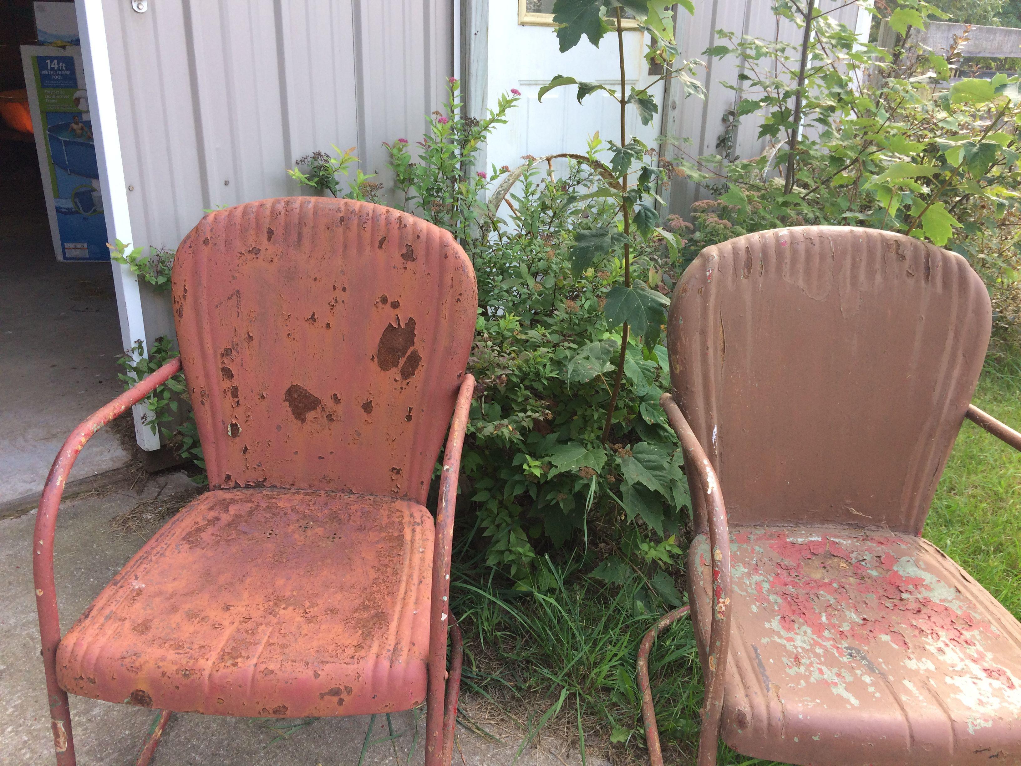 Vintage Metal Lawn Chairs >> Pre Ww2 Viktor Vintage Metal Lawn Chairs Made By Murray Viktor