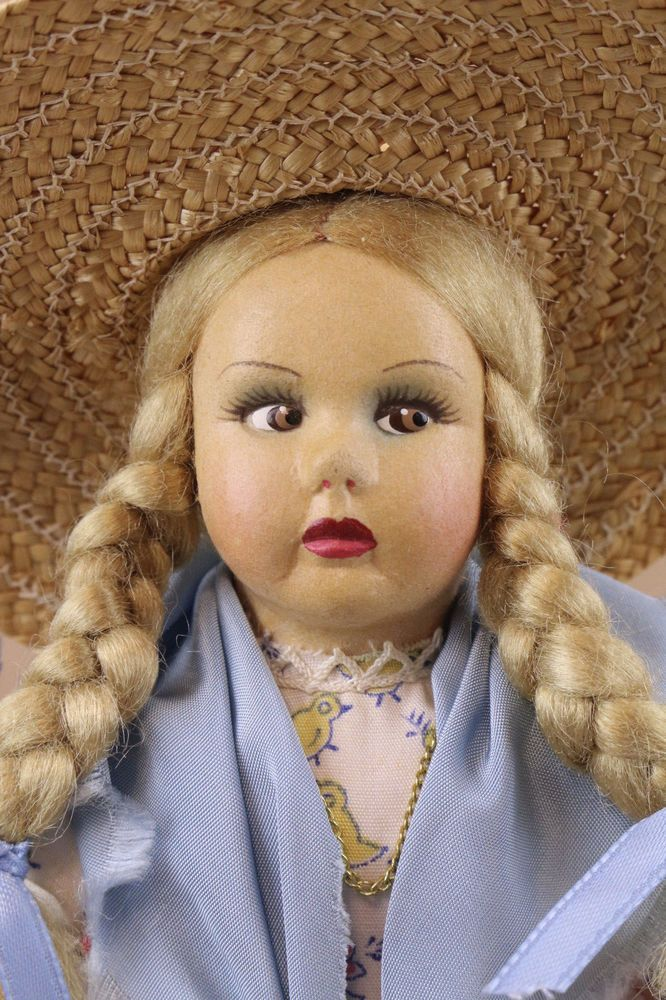 "11"" Lenci type cloth doll Toscana Maols w side glancing eyes w original outfit"