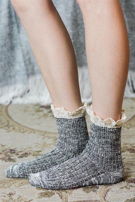 Crochet Ruffle Socks - Assorted Colors, , Winter, Socks, Hosiery, new, Bayberry Co. - 1