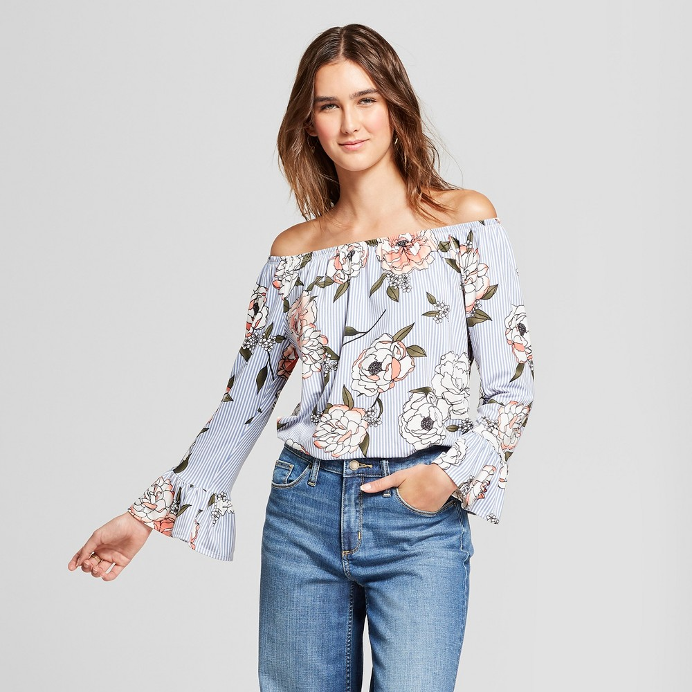 ec5a7d85f61b26 Women's Floral Print Long Sleeve Off the Shoulder Swing Top - Alison  Andrews Blue XL