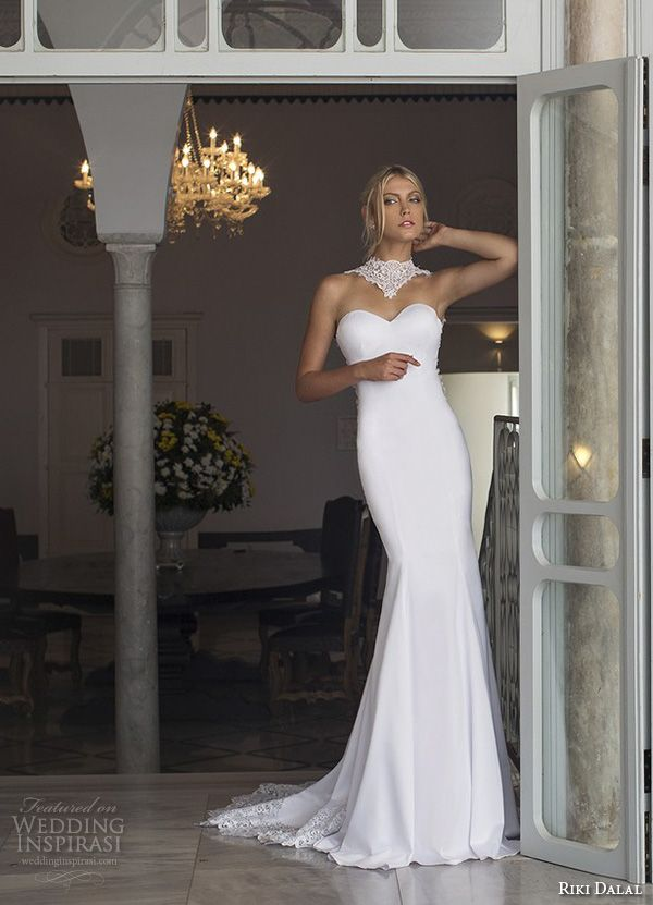 Strapless Lace High Collar Sweetheart Neckline Beautiful Slim Fit And Flare Mermaid Wedding Dress