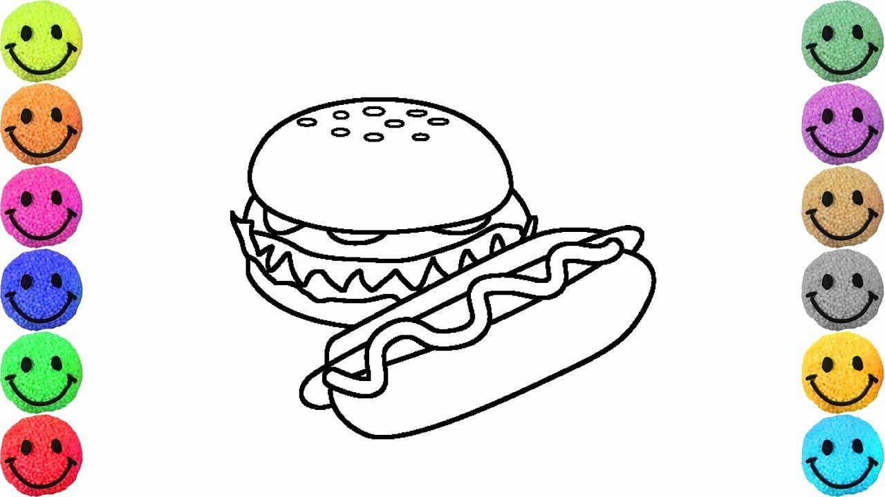 Hot Dogs Coloring Page Awesome Coloring Pages Fast Food Hot Dog And Hamburger Drawing In 2020 Dog Coloring Page Flag Coloring Pages Gingerbread Man Coloring Page