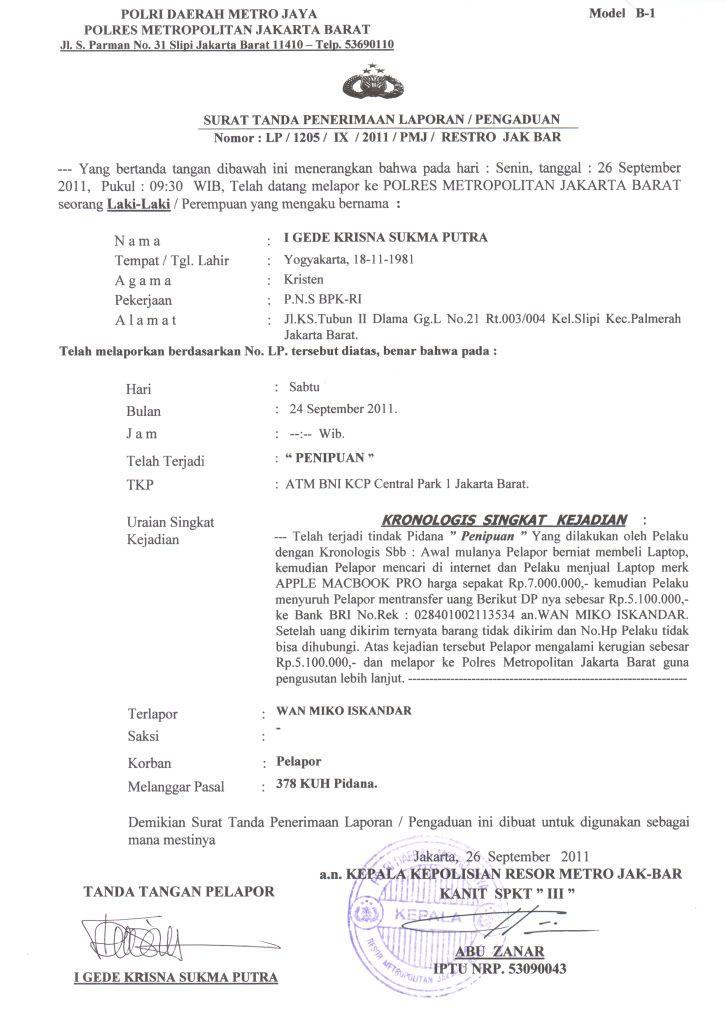 Surat Laporan Penipuan Ke Polisi Antie Info Surat Tanggal Tanda