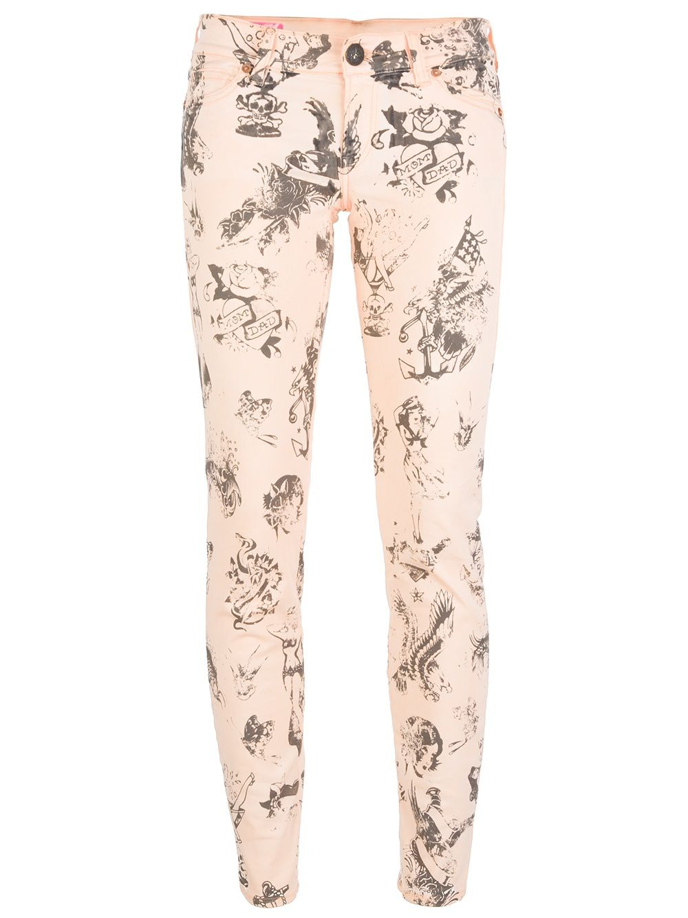 Pale pink cotton blend jean from Shield Denim featuring a skinny fit leg with faded black old school tattoo prints, a waistband with belt loops, a top button fastening, a concealed front fastening, a classic five pocket design and a signature yellow logo detail at the rear.