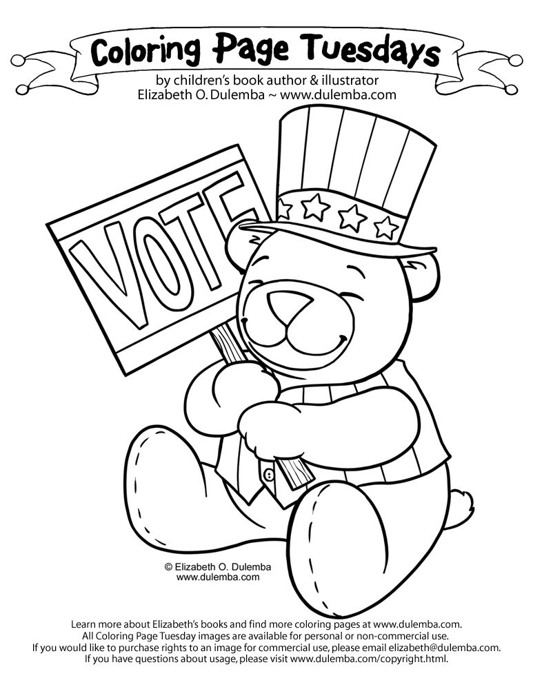 voting coloring pages dulemba: Coloring Page Tuesday!   Get out the VOTE! #voting #vote  voting coloring pages