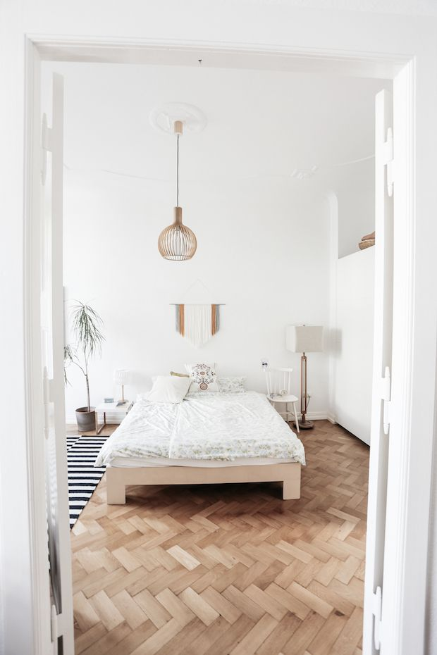 A large bedroom in a fab mid-century inspired home in Berlin. Herz & Blut. My Scandinavian Home.