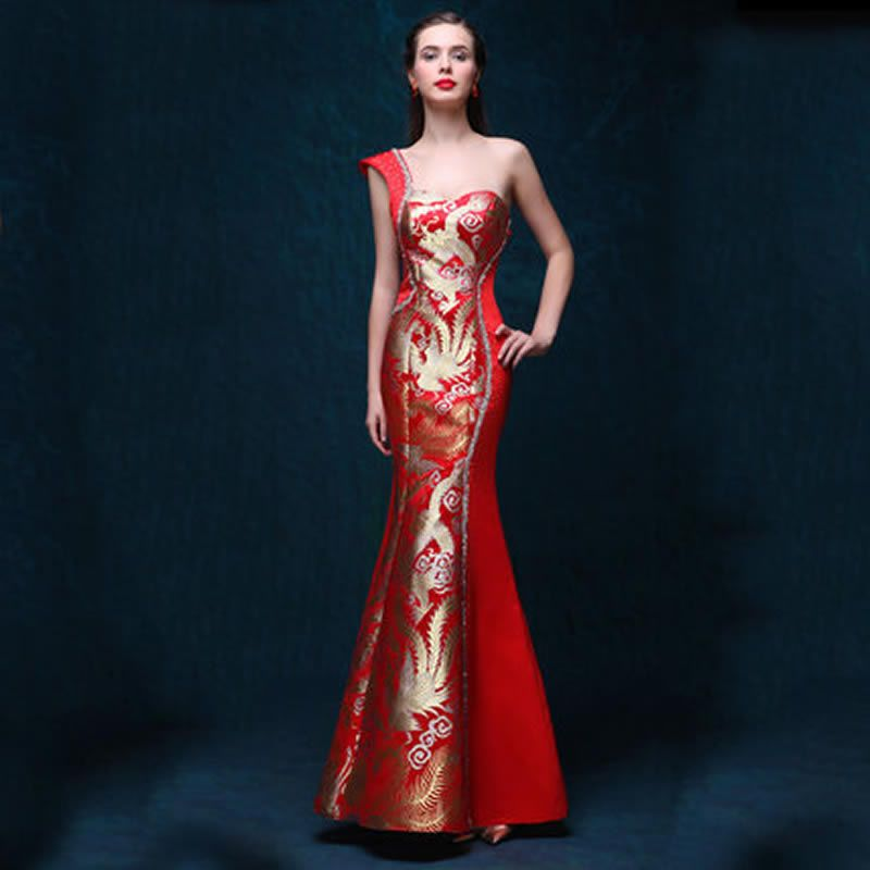 One Shoulder Dress Evening Gowns Red Qipao Cheongsam Traditional ...