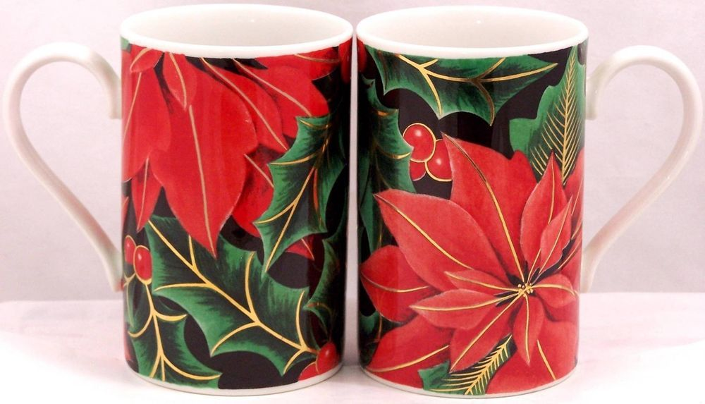 Set Of 2 Dunoon Golden Poinsettia Coffee Mug Designed By Caroline Bessey Made In Scotland Measures 4 1 4 Tall No Chips No Crac Mugs Coffee Mugs Poinsettia